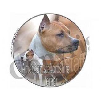 Dekal Rund  Am Stafford Terrier
